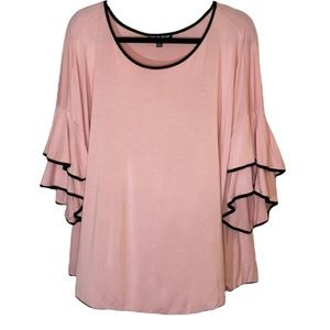 Ladies Cable & Gauge Super Soft Pink & Black Top with Ruffle Sleeves